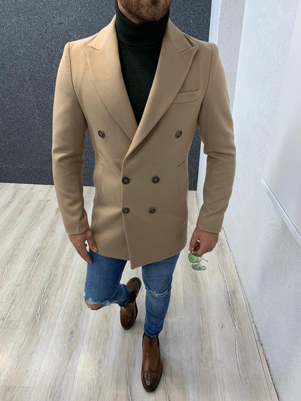 Beige Long Coat by Gentwith.com with Free Shipping