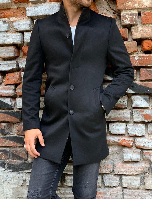 Black Slim Fit Wool Long Coat by Gentwith.com with Free Shipping