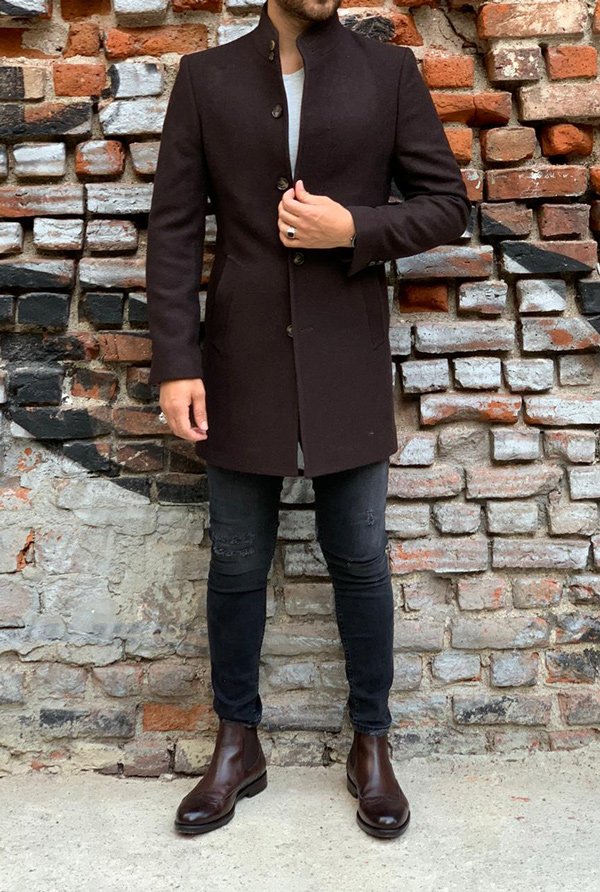 Coffee Slim Fit Wool Long Coat by Gentwith.com with Free Shipping