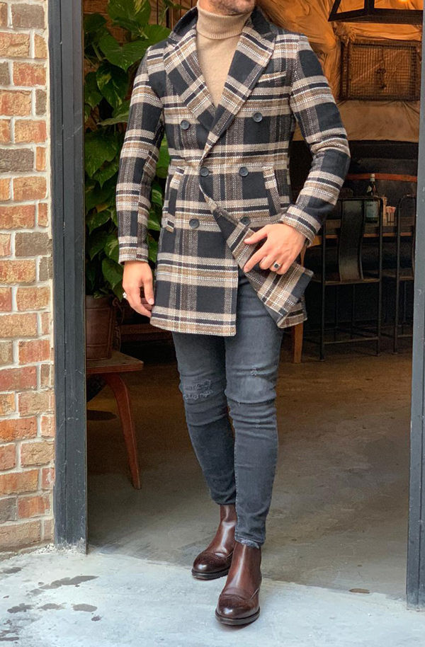 Brown Slim Fit Long Coat by Gentwith.com with Free Shipping
