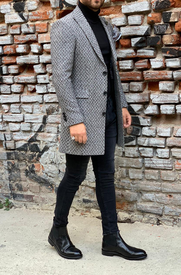 Gray Slim Fit Wool Long Coat by Gentwith.com with Free Shipping