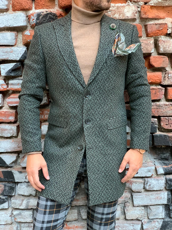 Green Slim Fit Wool Long Coat by Gentwith.com with Free Shipping