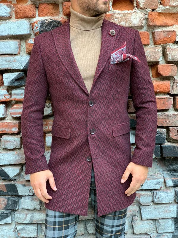 Red Slim Fit Wool Long Coat by Gentwith.com with Free Shipping