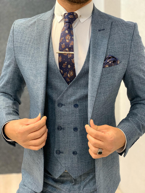 Blue Slim Fit Crosshatch Wool Suit by Gentwith.com with Free Shipping
