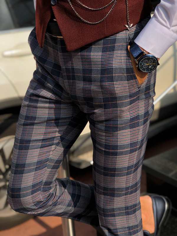 Navy Blue Slim Fit Plaid Pants by Gentwith.com with Free Shipping