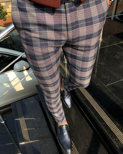 Navy Blue Plaid Pants by Gentwith.com with Free Shipping