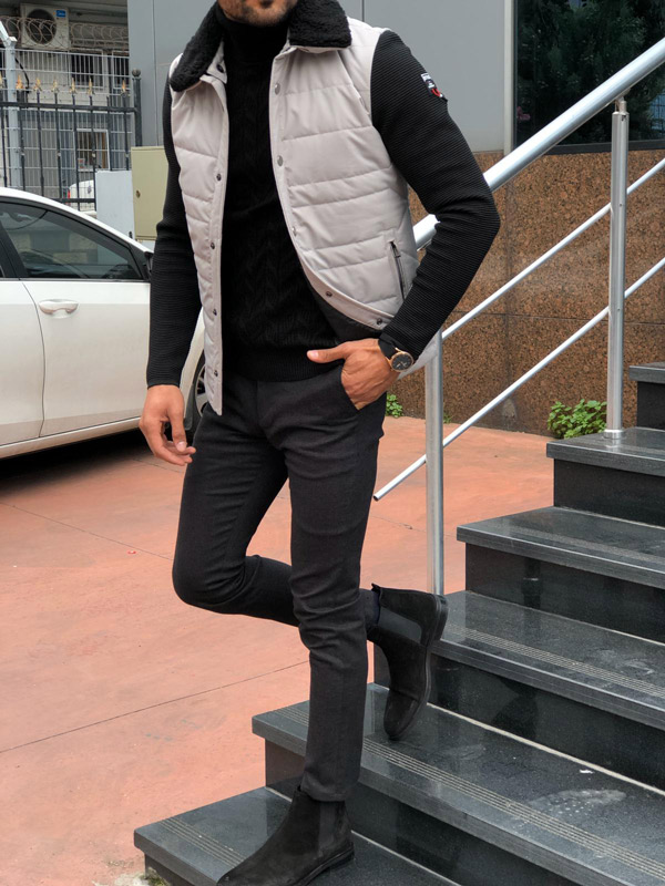 Gray Slim Fit Coat by Gentwith.com with Free Shipping