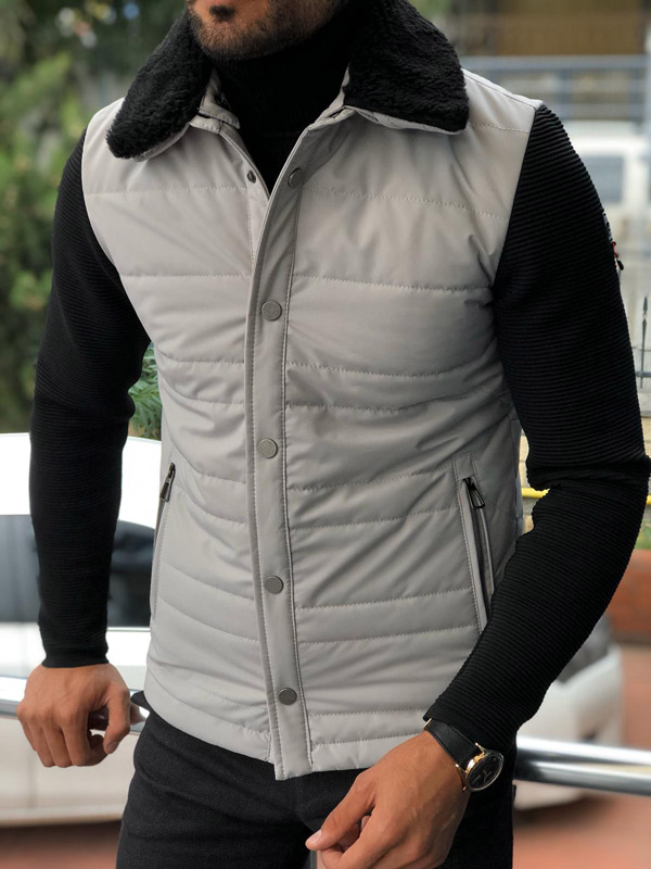 Gray Slim Fit Fur Collar Coat by Gentwith.com with Free Shipping