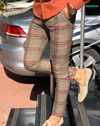 Beige Plaid Pants by Gentwith.com with Free Shipping