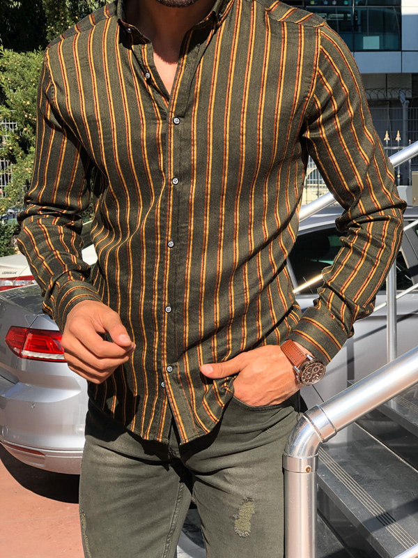 Khaki Slim Fit Button Collar Chalk Stripe Shirt by Gentwith.com with Free Shipping