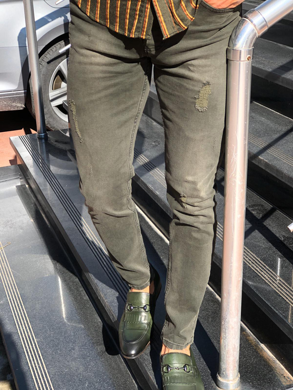 Khaki Slim Fit Distressed Jeans by Gentwith.com with Free Shipping