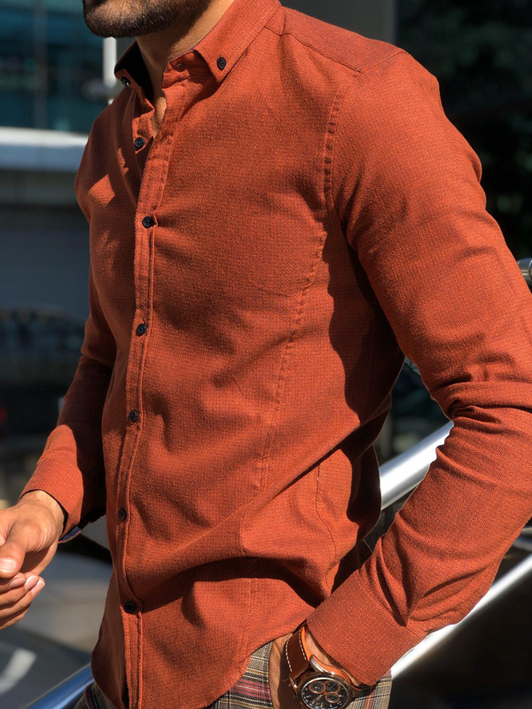Orange Button Collar Shirt by Gentwith.com with Free Shipping