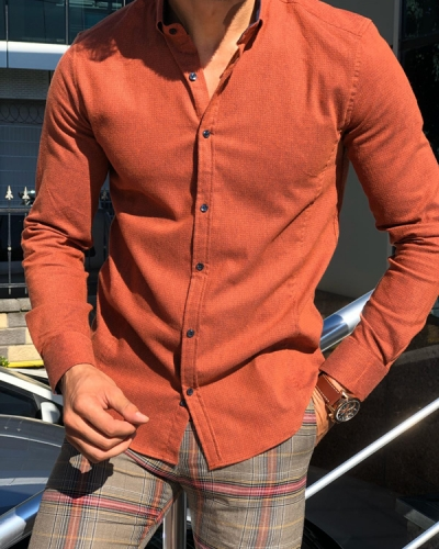 Orange Slim Fit Button Collar Shirt by Gentwith.com with Free Shipping