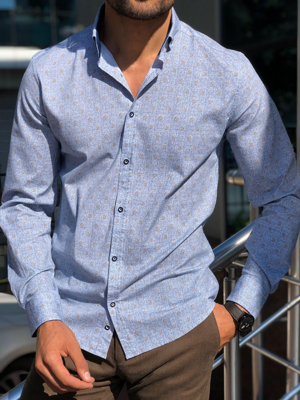 Blue Slim Fit Patterned Shirt by Gentwith.com with Free Shipping