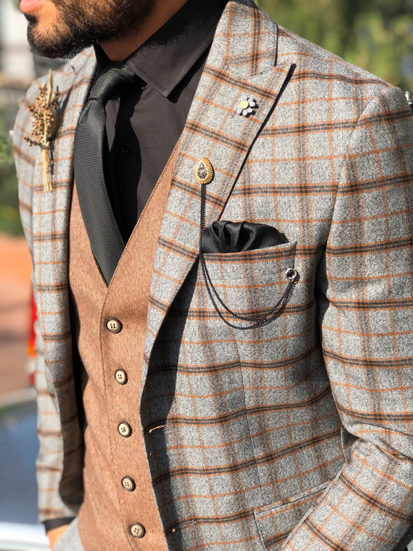 Camel Slim Fit Plaid Suit by Gentwith.com with Free Shipping