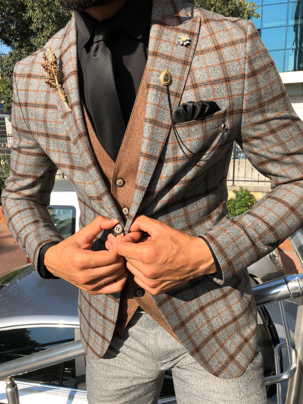 Camel Slim Fit Glen Check Plaid Suit by Gentwith.com with Free Shipping