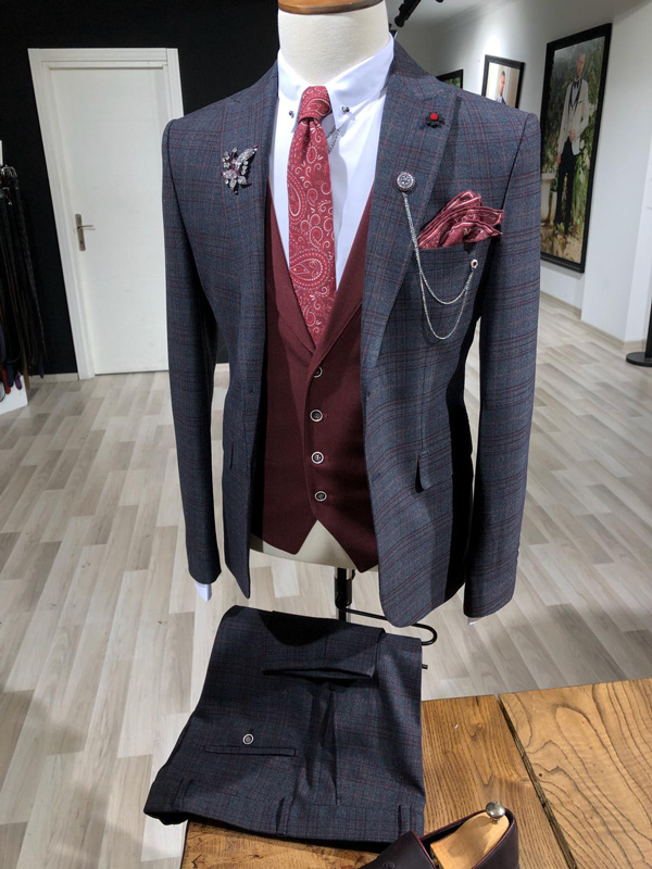 Navy Blue Slim Fit Glen Check Suit by Gentwith.com with Free Shipping