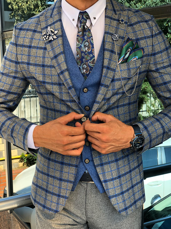 Blue Slim Fit Glen Check Plaid Suit by Gentwith.com with Free Shipping