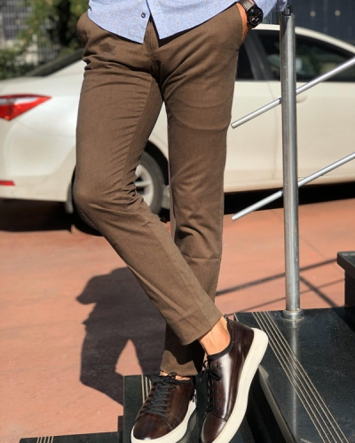 Brown Slim Fit Cotton Pants by Gentwith.com with Free Shipping