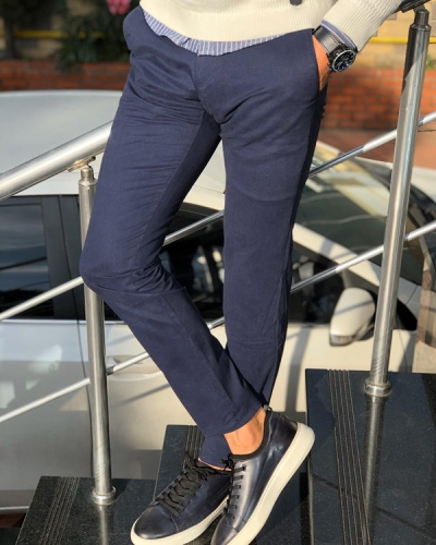 Navy Blue Slim Fit Cotton Pants by Gentwith.com with Free Shipping