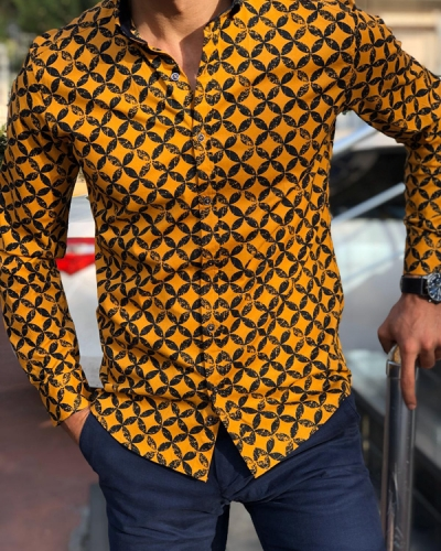 Mustard Slim Fit Patterned Shirt by Gentwith.com with Free Shipping