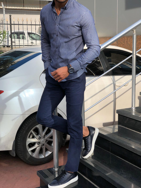 Navy Blue Pinstripe Shirt by Gentwith.com with Free Shipping