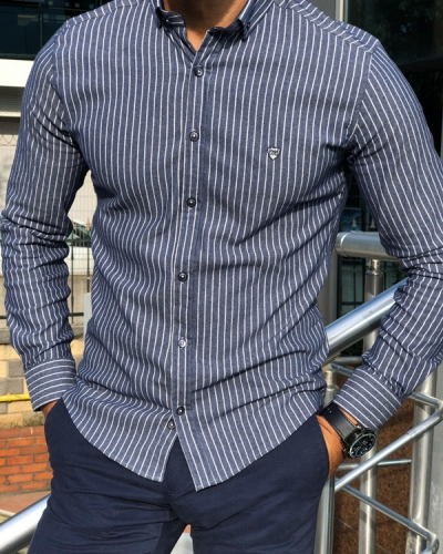 Navy Blue Slim Fit Pinstripe Shirt by Gentwith.com with Free Shipping