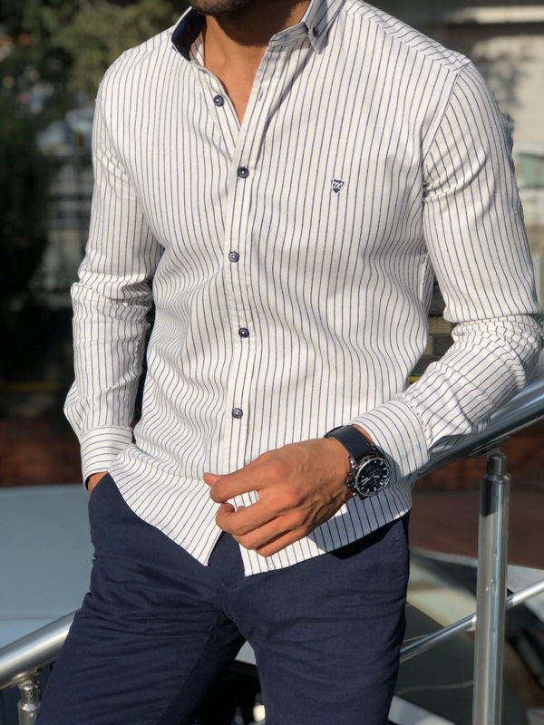 White Pinstripe Shirt by Gentwith.com with Free Shipping