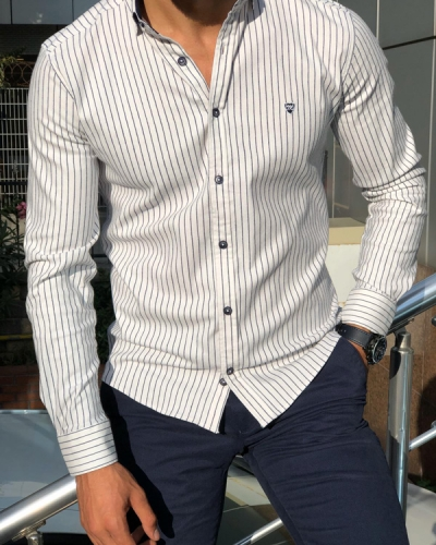 White Slim Fit Pinstripe Shirt by Gentwith.com with Free Shipping