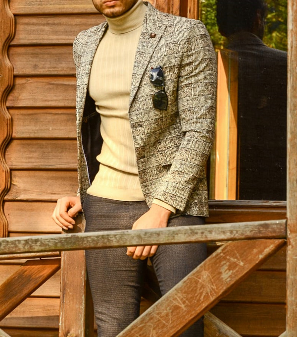 Beige Slim Fit Plaid Blazer by Gentwith.com with Free Shipping
