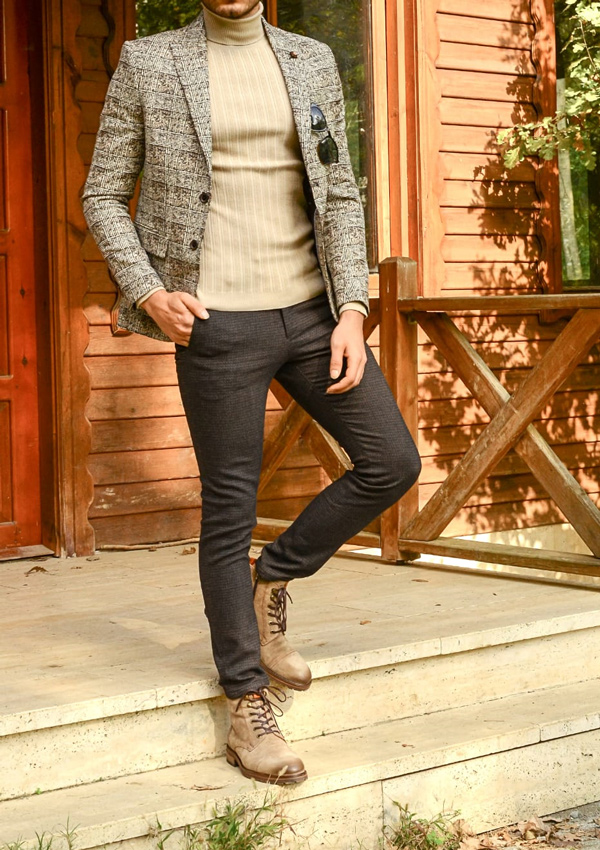Beige Plaid Blazer by Gentwith.com with Free Shipping