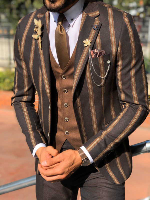 Dark Blue Slim Fit Chalk Stripe Suit by Gentwith.com with Free Shipping