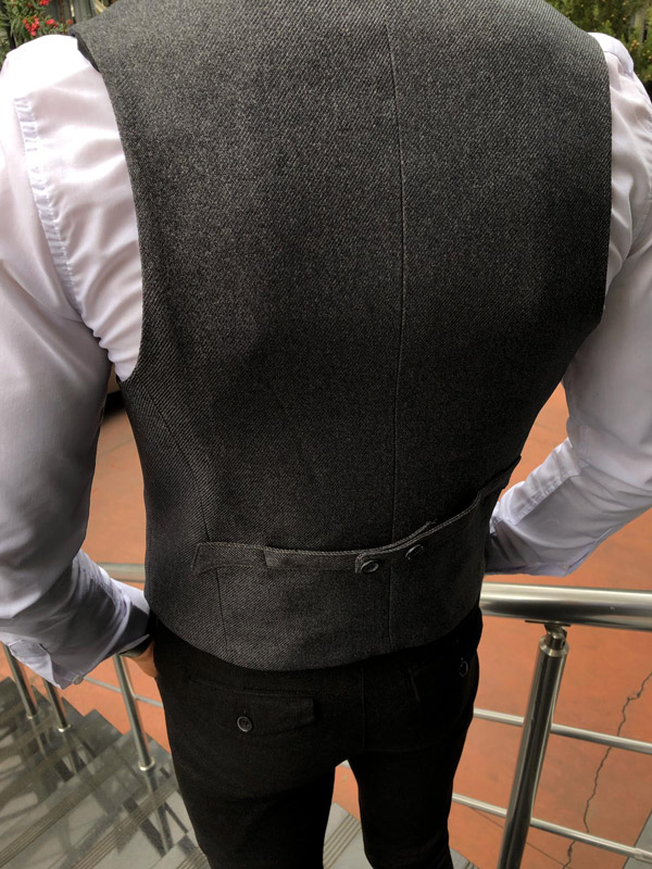 Anthracite Slim Fit Cotton Vest by Gentwith.com with Free Shipping