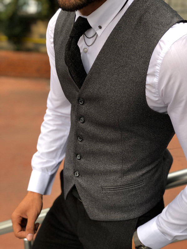 Anthracite Cotton Vest by Gentwith.com with Free Shipping