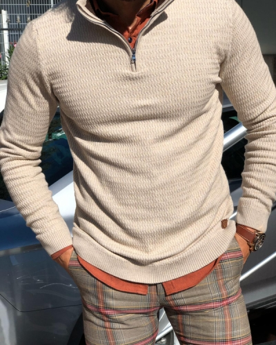Beige Half Zip Mock Neck Sweater by Gentwith.com with Free Shipping