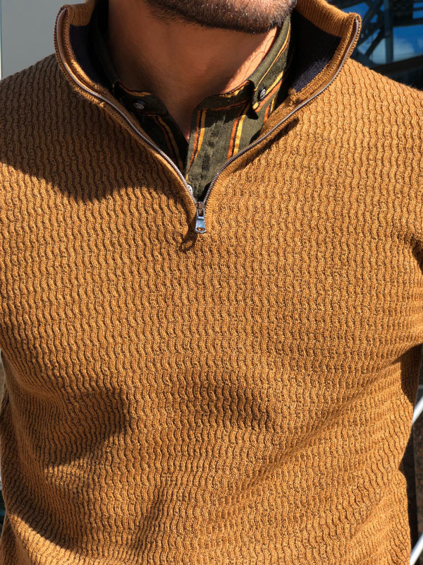 Camel Half Zip Mock Neck Sweater by Gentwith.com with Free Shipping