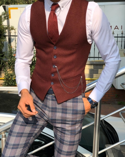 Claret Red Slim Fit Cotton Vest by Gentwith.com with Free Shipping