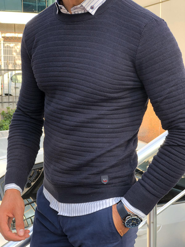 Blue Slim Fit Crew Neck Sweater by Gentwith.com with Free Shipping