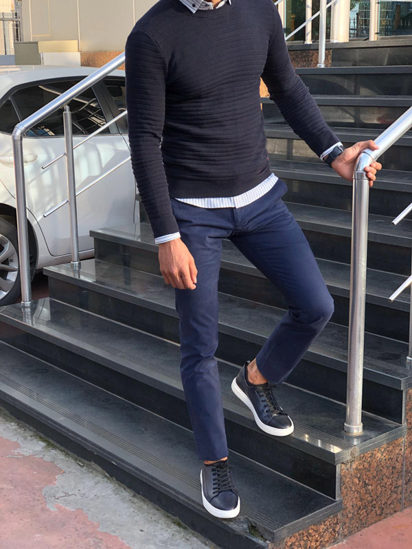 Dark Blue Crew Neck Sweater by Gentwith.com with Free Shipping