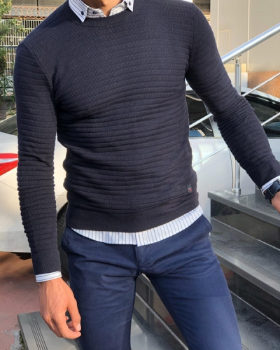 Dark Blue Slim Fit Crew Neck Sweater by Gentwith.com with Free Shipping
