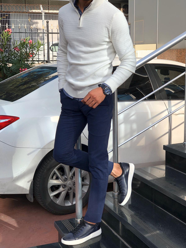 White Half Zip Mock Neck Sweater by Gentwith.com with Free Shipping