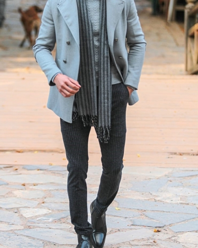 Gray Slim Fit Double Breasted Wool Coat by Gentwith.com with Free Shipping