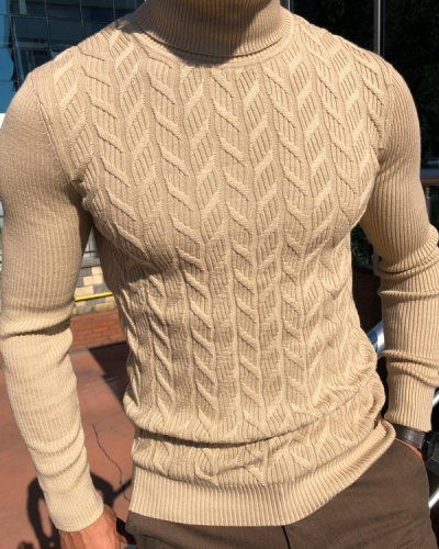 Beige Slim Fit Turtleneck Sweater by Gentwith.com with Free Shipping