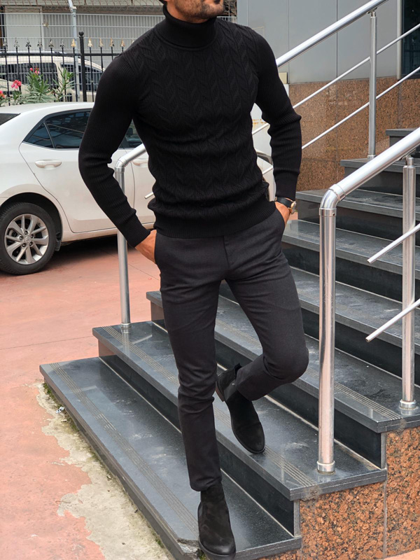 Black Slim Fit Turtleneck Sweater by Gentwith.com with Free Shipping