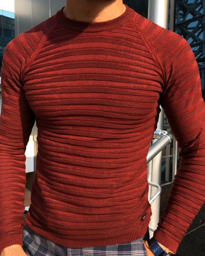 Claret Red Slim Fit Crew Neck Sweater by Gentwith.com with Free Shipping
