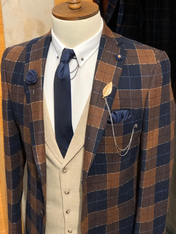 Dark Blue Slim Fit Plaid Suit by Gentwith.com with Free Shipping