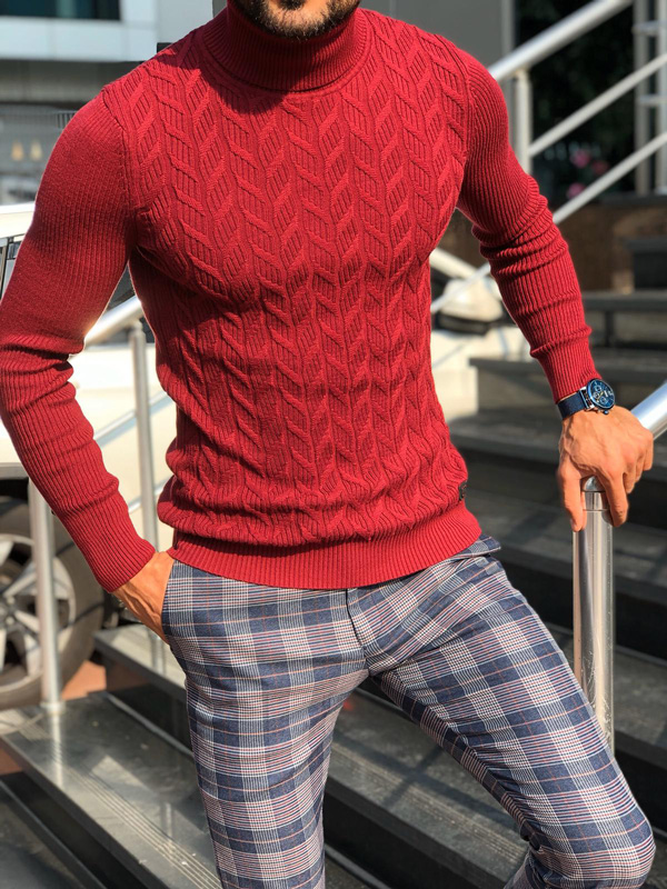 Red Slim Fit Turtleneck Sweater by Gentwith.com with Free Shipping