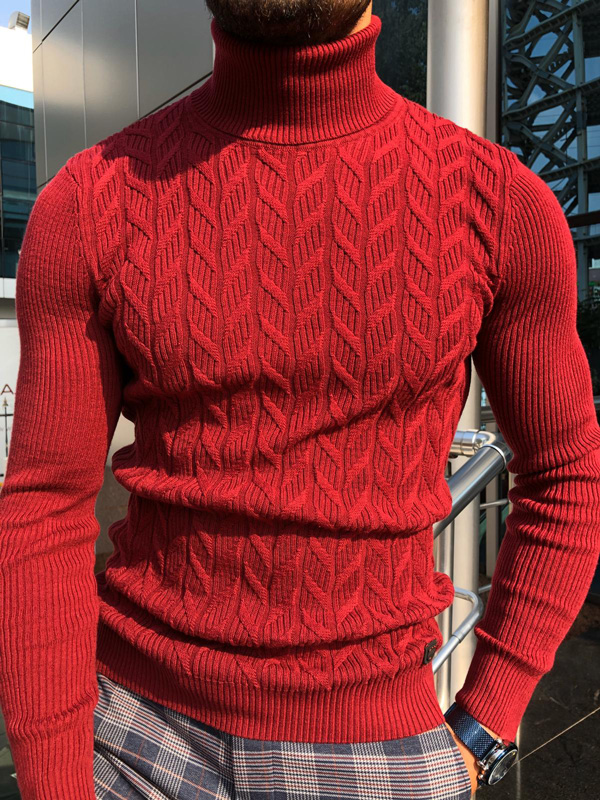 Red Turtleneck Sweater by Gentwith.com with Free Shipping