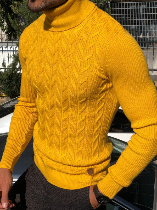 Yellow Slim Fit Turtleneck Sweater by Gentwith.com with Free Shipping