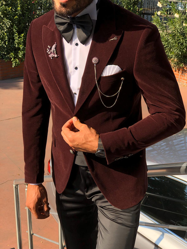 Red Slim Fit Velvet Tuxedo by Gentwith.com with Free Shipping